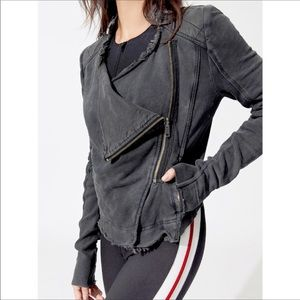 Free People Shrunken Moto Draped Front Jacket